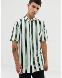 weißes vertikal gestreiftes Kurzarmhemd von Le Breve