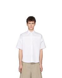 weißes vertikal gestreiftes Kurzarmhemd von Maison Margiela