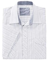 weißes vertikal gestreiftes Kurzarmhemd von MARCO DONATI