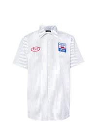 weißes vertikal gestreiftes Kurzarmhemd von R13