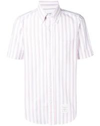weißes vertikal gestreiftes Kurzarmhemd von Thom Browne