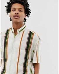 weißes vertikal gestreiftes Kurzarmhemd von Weekday