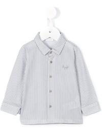 weißes vertikal gestreiftes Langarmhemd