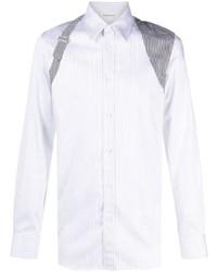 weißes vertikal gestreiftes Langarmhemd von Alexander McQueen
