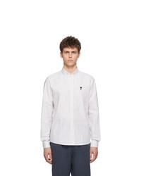 weißes vertikal gestreiftes Langarmhemd von AMI Alexandre Mattiussi