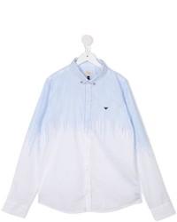 weißes vertikal gestreiftes Langarmhemd von Armani Junior