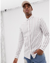 weißes vertikal gestreiftes Langarmhemd von ASOS DESIGN