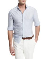 Weißes vertikal gestreiftes Langarmhemd von Brunello Cucinelli