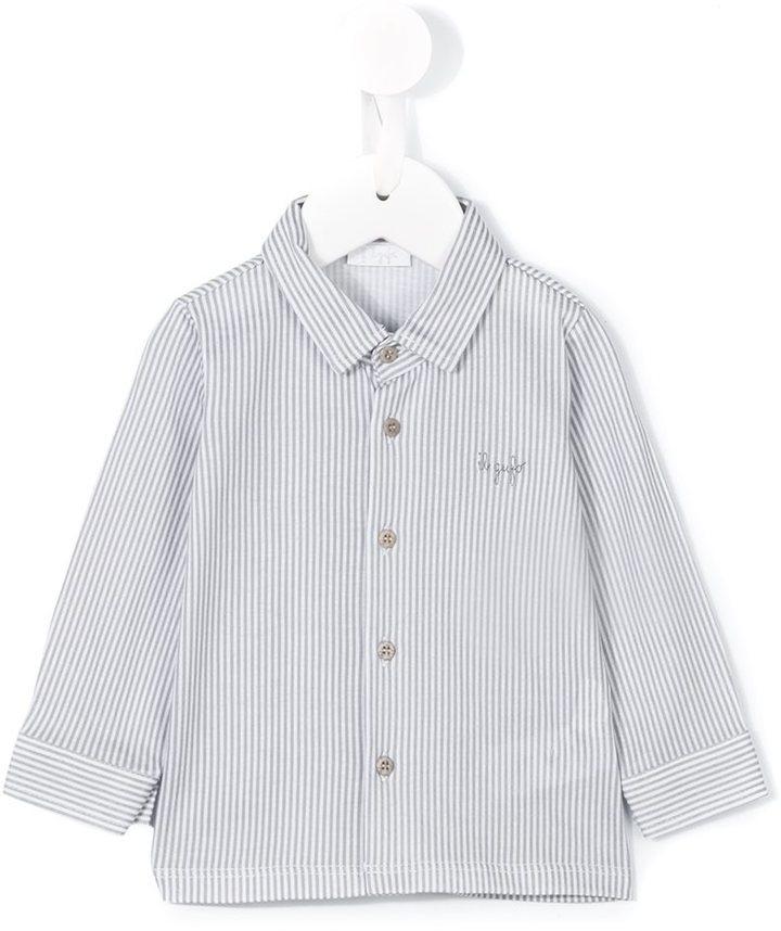 weißes vertikal gestreiftes Langarmhemd von Il Gufo