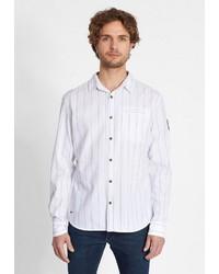 weißes vertikal gestreiftes Langarmhemd von khujo