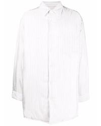weißes vertikal gestreiftes Langarmhemd von Maison Margiela