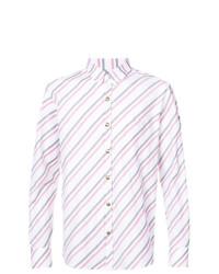 weißes vertikal gestreiftes Langarmhemd von Moncler