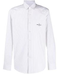 weißes vertikal gestreiftes Langarmhemd von Salvatore Ferragamo