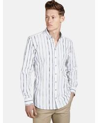 weißes vertikal gestreiftes Langarmhemd von SHIRTMASTER