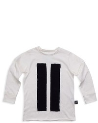 weißes vertikal gestreiftes Langarmshirt