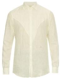 weißes vertikal gestreiftes Leinen Langarmhemd
