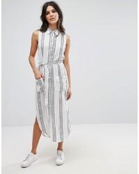 weißes vertikal gestreiftes Shirtkleid von Glamorous