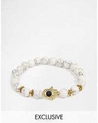 weißes verziert mit Perlen Armband