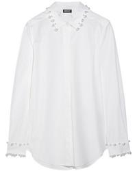 weißes verziertes Businesshemd von DKNY