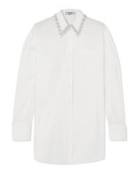weißes verziertes Businesshemd von Prada