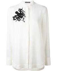 weißes verziertes Seidehemd von Alexander McQueen