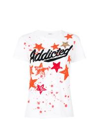 weißes verziertes T-Shirt mit einem Rundhalsausschnitt von P.A.R.O.S.H.