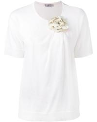 weißes verziertes T-shirt von Lanvin