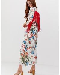 weißes Wickelkleid mit Blumenmuster von Glamorous