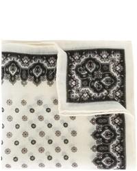 weißes Wolleinstecktuch mit Blumenmuster von Canali